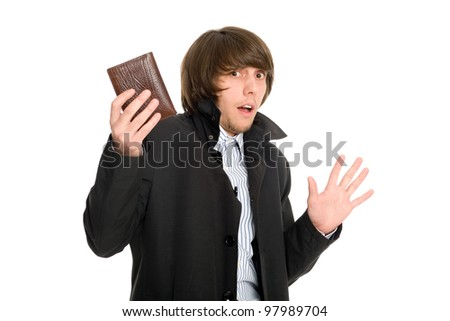 Panic frightened young man gave his wallet the alleged robber. - stock photo