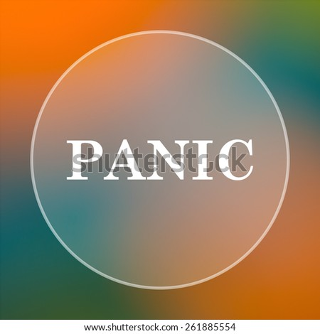 Panic icon. Internet button on colored  background.  - stock photo