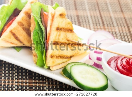 Panini, sandwich, toast. - stock photo