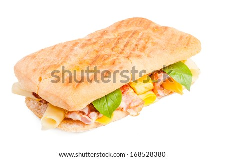 Panini with meat and cheese isolated on white background - stock photo