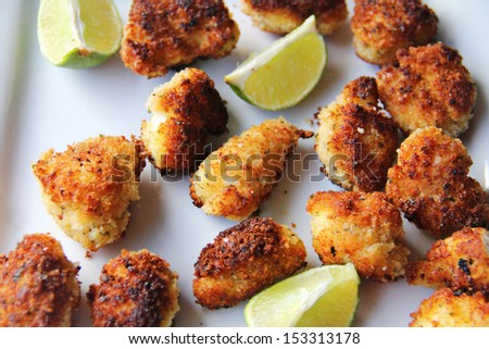 Panko fried lobster tail nuggets with lime