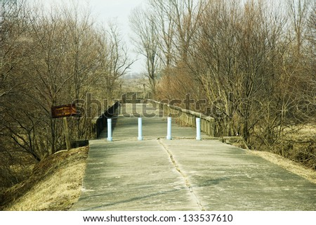PANMUNJOM - MARCH 15: Bridge of No Return at the border between North Korean and South Korea on March 15, 2013.   Tensions have risen since North Korea detonated a nuclear device in February. - stock photo