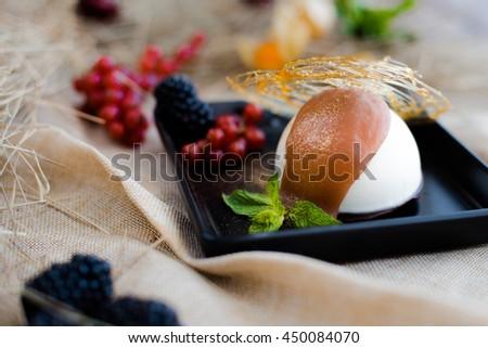 panna cotta dessert - stock photo