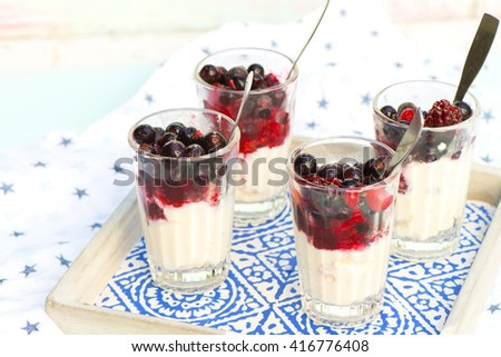 pannacotta with fresh berries in a glass - stock photo