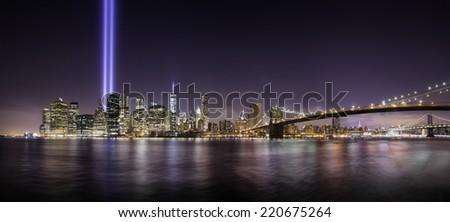 Pano of Manhattan in the memorial day, tribute lights at night, New York - stock photo