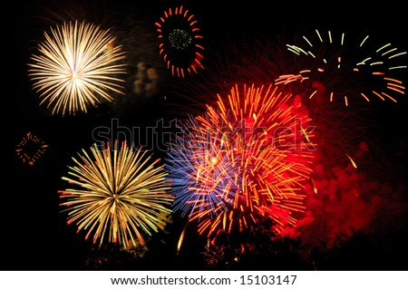 Panoply of colorful fireworks across the night sky