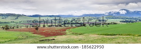 Panoram overlooking valley in Central NSW vicinity Mudgee - stock photo