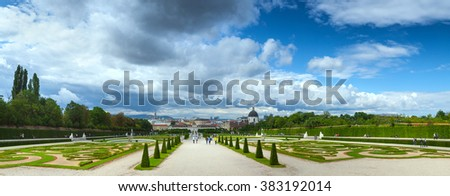 Panorama a baroque park at the Belvedere Castle in Vienna, Austria built as a summer residence for Prince Eugene of Savoy - stock photo