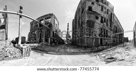 panorama abandoned factory building, plant, pipe, brick, wall black and white - stock photo
