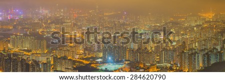 Panorama Aerial view of Hong Kong skyline from kowloon Peak - stock photo