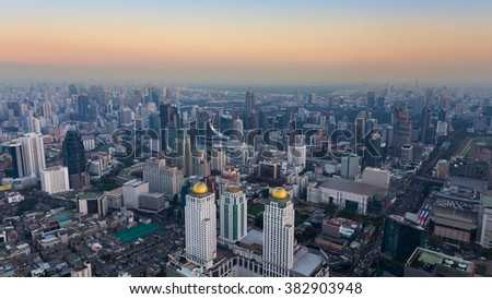 Panorama aerial view skyline over city downtown - stock photo