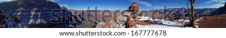 Panorama along South Kaibab Trail in Grand Canyon National Park in Arizona - stock photo