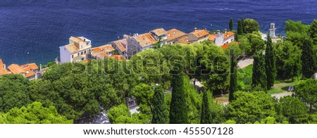 panorama ancient town on the Adriatic Sea. Terracotta roofs of old houses on the background of the sea surface. Pictures without satellite dishes and tv antennas. Rovinj. Istria. Croatia Europe - stock photo