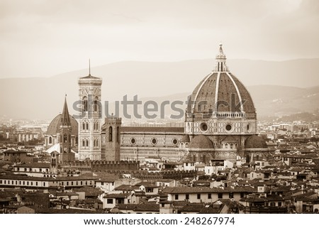 Panorama and Cathedral Santa Maria Del Fiore on a summer day in Florence, Italy. - stock photo
