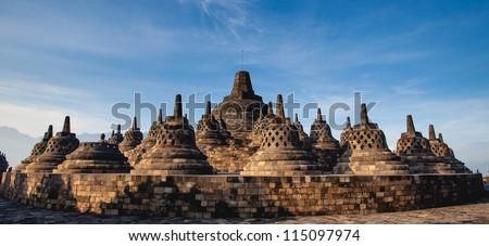 Panorama Borobudur Temple, Yogyakarta, Java, Indonesia. - stock photo