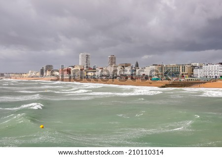 Panorama Brighton on a cloudy day, East Sussex, United Kingdom - stock photo