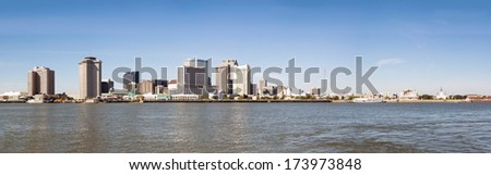 Panorama Business and the French Quarter of New Orleans. View from the Mississippi River - stock photo