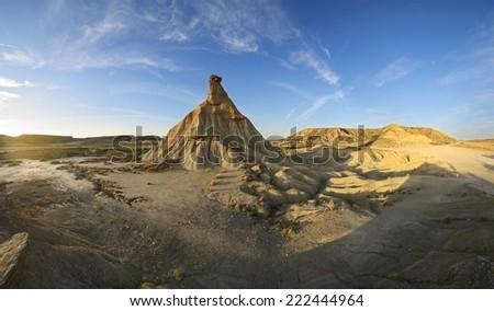 Panorama 180�° Castildetierra - Bardenas Reales - Spain - stock photo