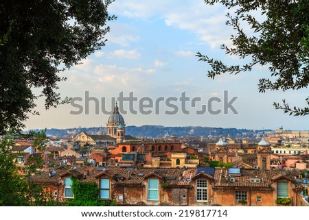 Panorama Cityscape of Rome, Italy with its famous cupolas in the Morning hours - stock photo