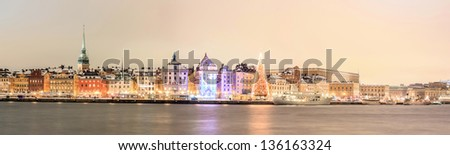 Panorama Cityscape of  Stockholm city at dusk Sweden - stock photo