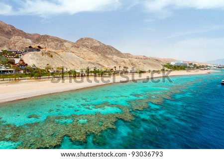Panorama coastline of Red sea from coral reef - stock photo