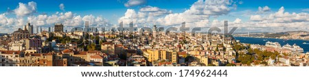Panorama 360 degrees of Golden Horn Gulf and the Bosphorus in Istanbul, Turkey - stock photo