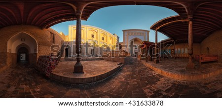 Panorama (360 degrees) of the yard of an ancient mosque in the old city of Itchan Kala at sunny day, Khiva, Uzbekistan