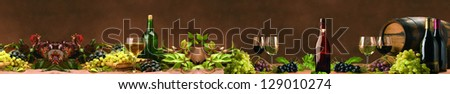 panorama drinks, wine, alcohol, grapes. - stock photo