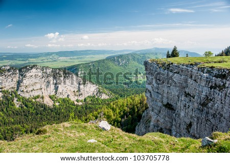 Panorama from Creux du van, Neuchatel, Switzerland - stock photo