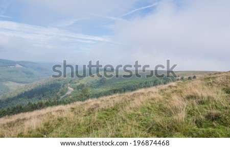 Panorama from Cwmcarn Forest, Wales  - stock photo