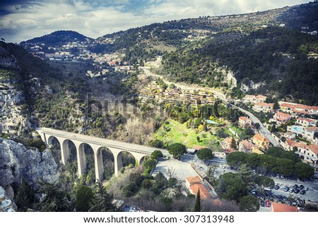 panorama from Eze Chateau at The Viaduct of Eze, The Bridge of the Devil,  near Nice - stock photo
