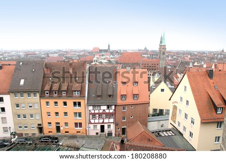 Panorama from Imperial Castle   Nuremberg Germany - stock photo