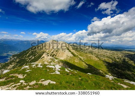 Panorama from Italian alps, top of a mountain, Cima Larici Asiago - stock photo