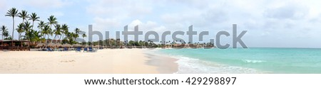 Panorama from Manchebo beach on Aruba island in the Caribbean sea