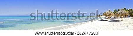 Panorama from Palm beach on Aruba island - stock photo