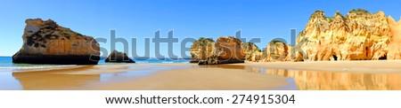 Panorama from praia Tres Irmaos in Alvor Portugal - stock photo