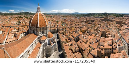 Panorama from the bell tower in Florence, Italy, with the dome of the Florence cathedral - stock photo