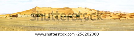 Panorama from the Erg Chebbi desert in Morocco - stock photo