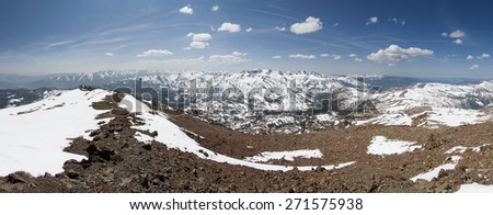 panorama from the summit of Sonora Peak in the Sierra Nevada mountains looking south over Sonora Pass - stock photo