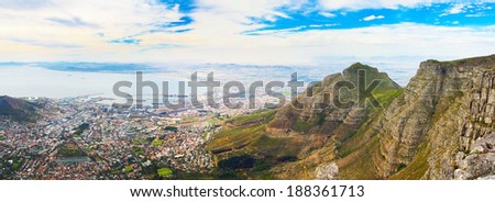 Panorama from the top of Cape Town Table Mountain (South Africa) on a bright sunny day