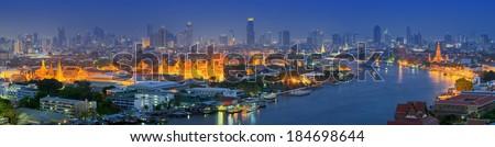 Panorama Grand Palace of Thailand at twilight in Bangkok, HDR images.  - stock photo
