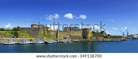 Panorama harbor and Old castle of city Brest, Finistere, Brittany, France - stock photo