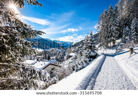 Panorama hiking pass  above  Davos, Switzerland. - stock photo