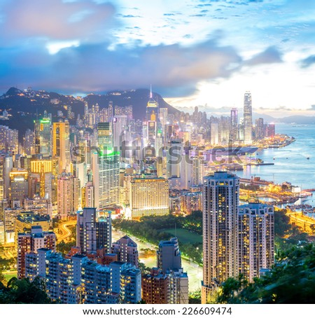 Panorama Hong Kong city Skyline from braemar hill at dusk - stock photo
