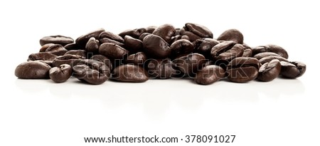 Panorama image of coffee beans studio isolated on white background