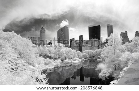Panorama infrared image of the Central Park in Manhattan - stock photo