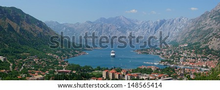 Panorama  - Kotor bay in the Montenegro - stock photo