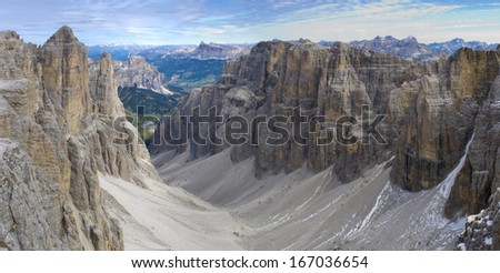 panorama landscape at dolomites in alps mountains with sella peak