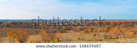 Panorama, landscape, autumn day on the community