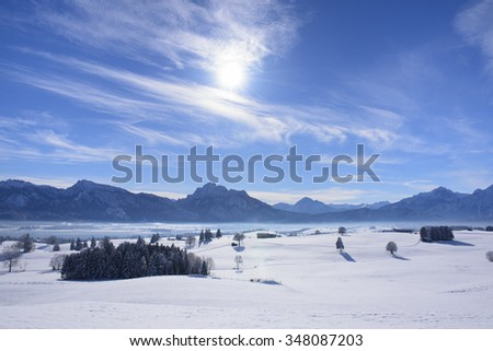 panorama landscape in Bavaria in winter